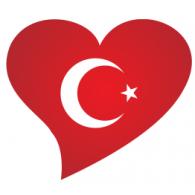 Türk bayrağı kalpte logo vector logo